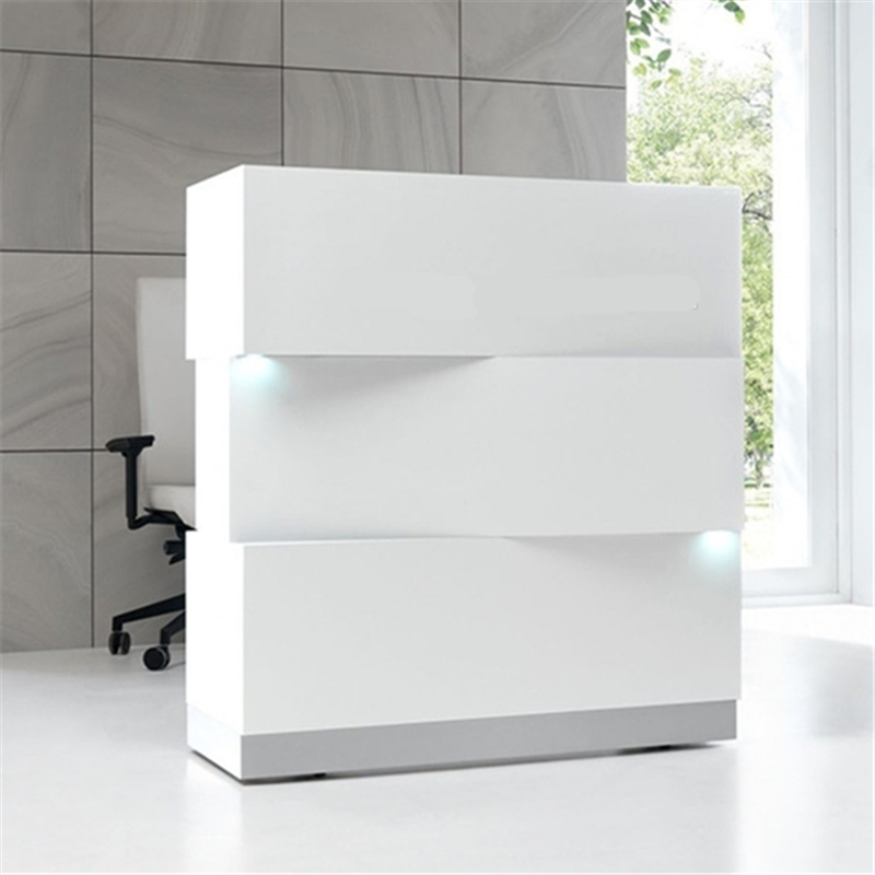 R006A Creative white glossy reception desk stand